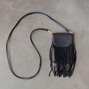Boutique Small Black Fringe Crossbody Bag